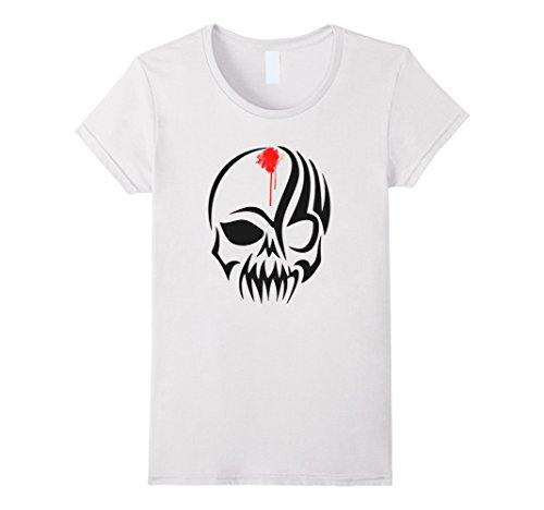 Devil Skull Mask (Womens skull bones horror undead devil mask biker T shirt Medium White)