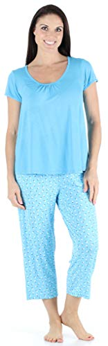 bSoft Women's Sleepwear Bamboo Jersey Short Sleeve Top and Capri Pajama Set, Ditsy Floral - Blue Top (BSBJ1830-1200S-MED)