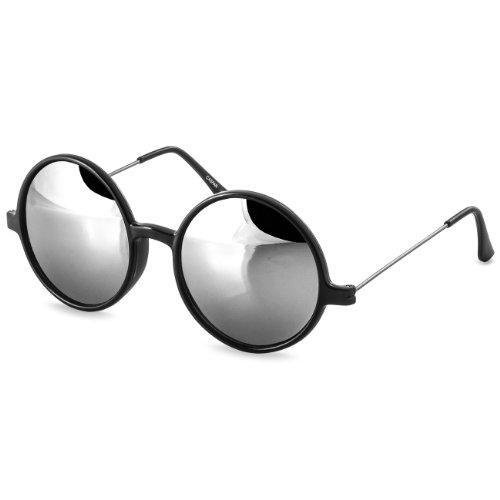 Argent Lunettes soleil UNISEXES verres colorés RONDES SG021 miroir RÉTRO Miroir de CASPAR Noir TxAO7A