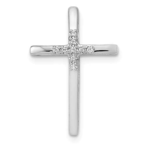 Real 14kt White Gold Diamond Cross Chain Slide (Diamond Pendant Chain Slide)