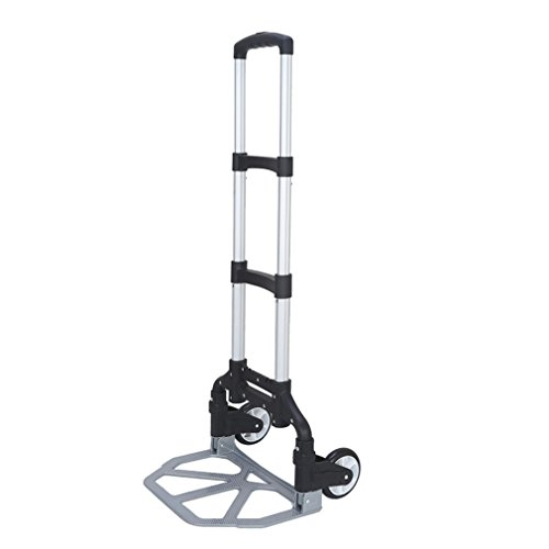 Hand Truck and Dolly 170lb Capacity Folding Aluminum Luggage Cart Shifter Travel Trolley (Black) by CalmTime