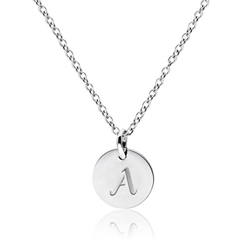 THREE KEYS JEWELRY Stainless Steel Initial Necklaces Silver Tone Alphabet 12mm / 0.47 Inches Tiny Disc Pendant Initial…
