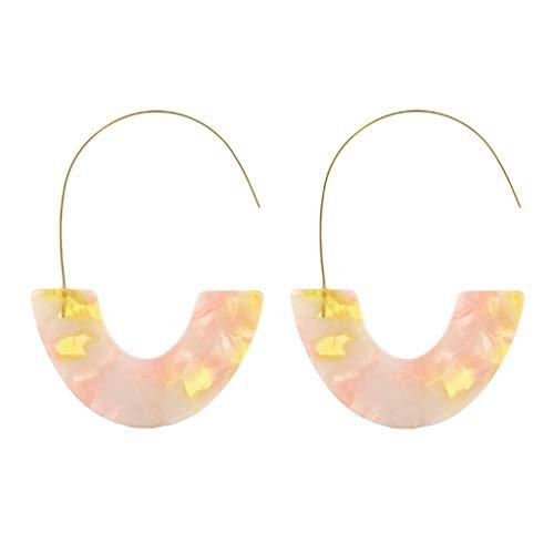(HCDjgh earings studs for women ear hoop Plate Geometry Half Ring Earrings best gift(Pink))