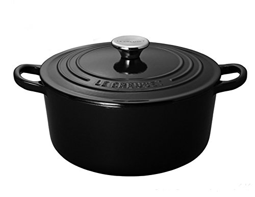 Cast-Iron 5-1/2-Quart Round French Oven, Black Onyx ()