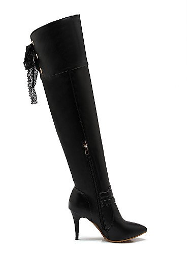 Negro A Moda Botas De us8 Eu39 Stiletto Zapatos Uk6 Mujer Vestido Tacón Puntiagudos Casual Xzz Cn39 Blanco Semicuero White La xO0Rzqwq