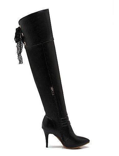 Eu39 Moda Botas Stiletto A Blanco Uk6 Cn39 Tacón us8 Mujer Semicuero La Vestido Casual Zapatos Negro White Puntiagudos De Xzz SpqfYWTwzw
