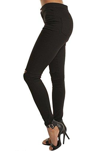 Alta Vita Jeans Si Zojuyozio Matita Black Strappata Slim Buco Donne w4Ayqp