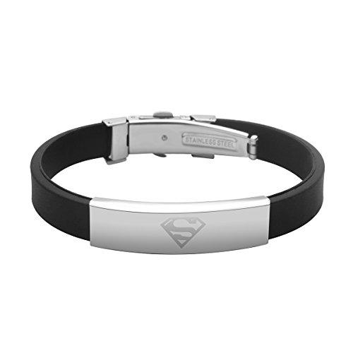 Godyce Superman Bracelet for Men Women Girl Black Rubber Jewelry - Stainless Steel Charm -