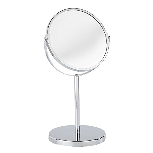 WENKO 16892100 Standing cosmetic mirror Assisi - foldable, mirror surface diam. 6.3 inch, 3 x magnification, Steel, 7.3 x 13.6 x 5.9 inch, Chrome by WENKO