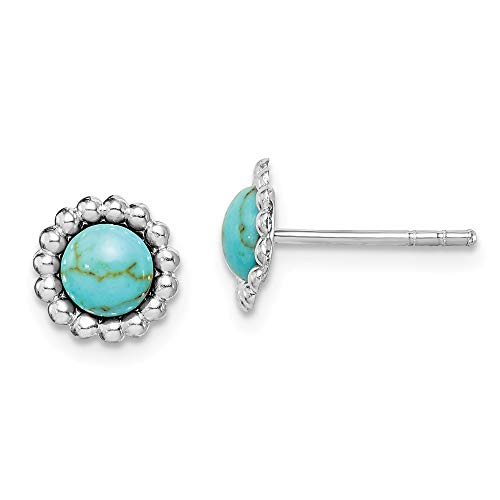Sterling Silver Rhodium-plated Simulated Turquoise Cluster Post ()