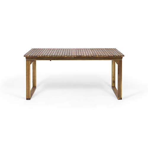 (Yilia Outdoor Expandable Acacia Wood Dining Table, Brown Patina)
