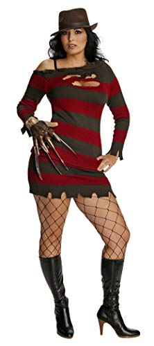 Women's Freddy Krueger Costume (Secret Wishes Nightmare On Elm Street Miss Krueger Costume, Brown/Red, One)