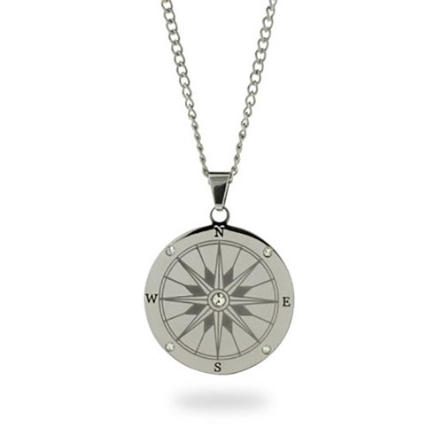 Eve s Addiction Stainless Steel with CZs Compass Pendant Necklace 18 , 20 ,24