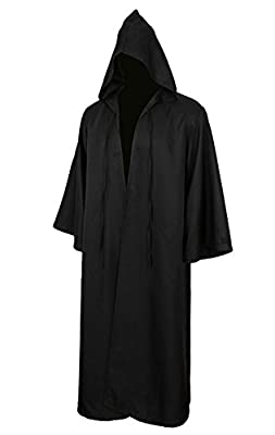 Jila Men & Kids Tunic Hooded Robe Cloak Knight Gothic Fancy Dress Halloween Masquerade Cosplay Costume Cape