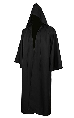 [Men Tunic Hooded Robe Cloak Knight Gothic Fancy Dress Halloween Masquerade Cosplay Costume Cape (XXL, Adult] (Black Men Halloween Costume)