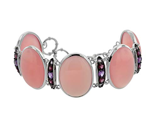 Rhodolite Bracelet Amethyst (Women's Sterling Silver Pink Chalcedony, Amethyst, Rhodolite & Pink Amethyst Bracelet, Multi, 8.5)