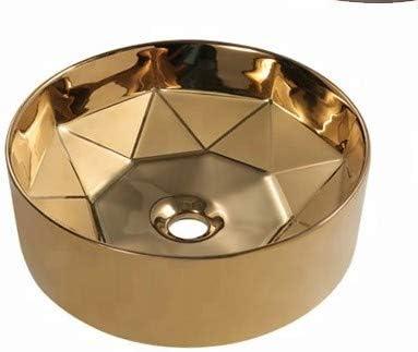 Lavabo de salle de bain designer vasque /à poser en c/éramique Forme ronde couleur Dor/ée dor retro Lavabo Meuble de Salle de Bain Monter Salle dEau Cabine de Toilette 41 x 41 x 15 cm