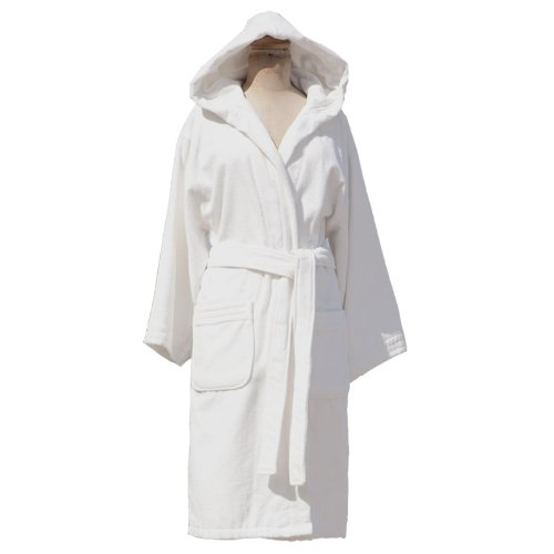 glo Organic Hooded White Robe L