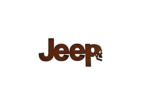 Jeep Sign with Skull made out of Rusted Steel