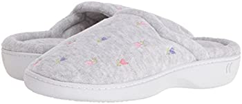 Isotoner Women's Classic Terry Clog Slip On Slipper, Heather Grey Flower, X-small5.5-6 M Us 5