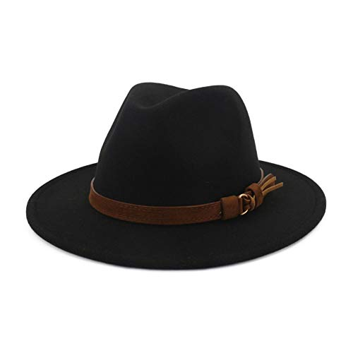 Lisianthus Men & Women Vintage Wide Brim Fedora Hat with Belt Buckle A-Black 59-60cm (Real Fedora)