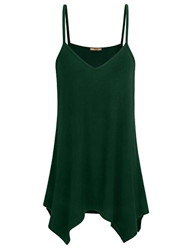 Miusey Tunic Camisoles, Womens Spaghetti Strap Tank Top Young Ladies V Neck Office Apparel Flowing Asymmetrical Outdoor Simple Shirts Casual Swing A Line Charismatic Cami Fashion 2018 Solid Green XL ()