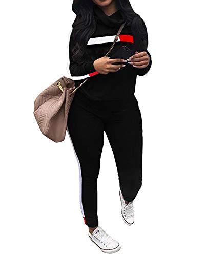 (Top-Vigor Women's 2 PCS Plus Size Tracksuit Sets Sweatsuits Outfits Hoodie Sweatshirt and Jogging Sweatpants Suit)