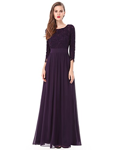 Ever-Pretty Womens Elegant Three-Quarter Sleeve Long Mother of The Bride Dress 10 US Purple