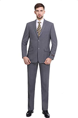 P&L Men's Premium Slim Fit 2-Piece Suit Blazer Jacket & Flat Pants Set Grey