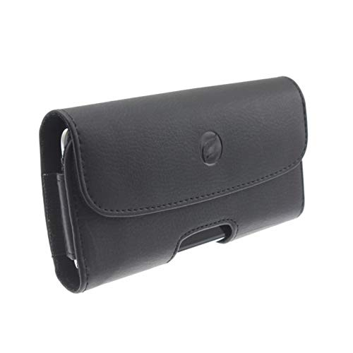 (Black Leather Carry Case Side Cover Holster Belt Clip w Loops for Samsung Galaxy S10e)