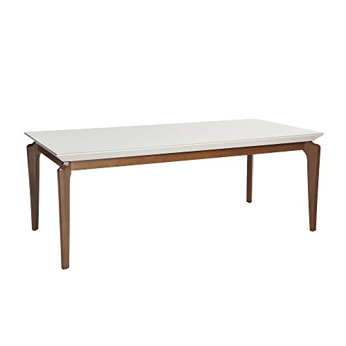 Manhattan Comfort 1014051 Payson Large Modern Dining Table with Curved Legs, 72 Inches, White - Table Manhattan Leg Dining