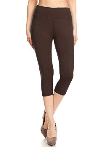Leggings Mania Women's Wide Waistband Yoga Capri Regular One Size Brown Brown Capri Pant