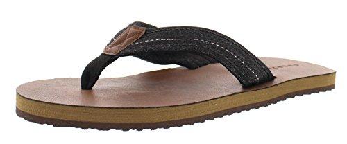 Gold Toe Men's Ilan Denim Jeans Lightweight Thong Flip-Flops, Indoor Outdoor Open Toe Beach Sandal Black 8 (Braided Mesh Short)