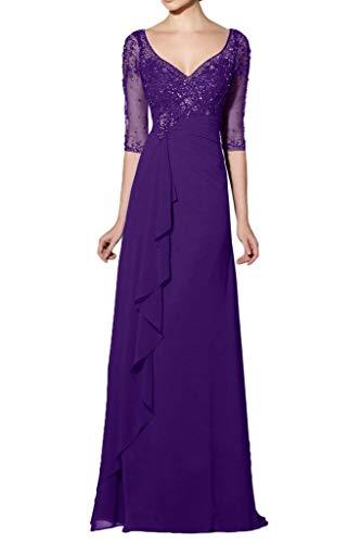Royal Partykleider Lang Langarm La Lila Abendkleider A Braut Brautmutterkleider Pailletten mia Linie Chiffon Elegant Blau Tw4tqzw