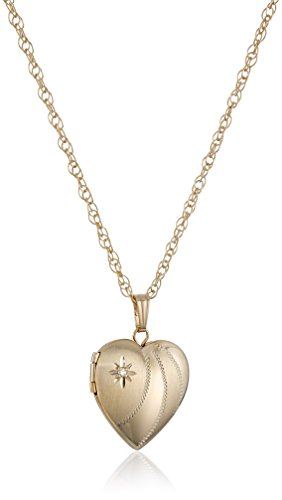 14k Yellow Gold-Filled Diamond-Accent Heart Locket Pendant Necklace with Hand Engraving, 18