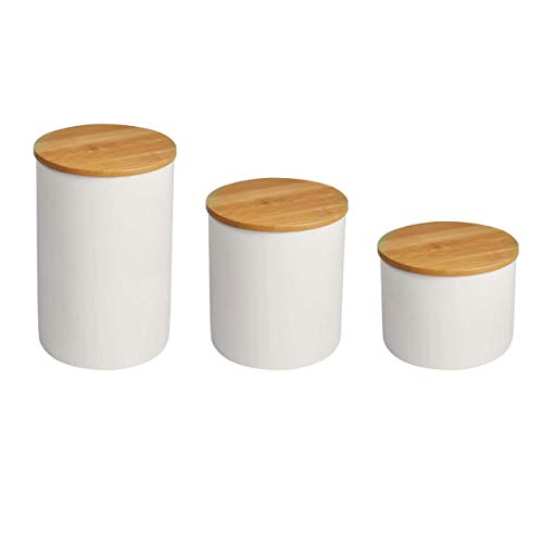 hjn Food Storage Jar with Bamboo Lid- White Ceramic Food storage canister for serving Coffee, Tea, Bean and More A Set of 3pcs (Tea Canister Set)