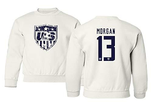 TURXIN New Soccer Shirt America USA National Team #13 Alex Morgan Unisex Youth Sweatshirt Crewneck Sweater (White, Youth X-Large)