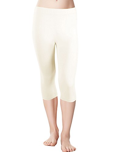 Red Bene Women's Microfiber Seamless Capri Leggings, Plus-Size Ivory (Women Capri Tights)