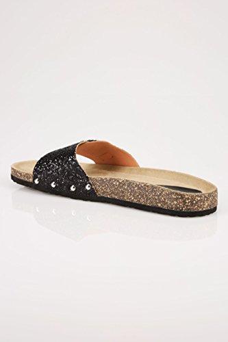 Yours Clothing Wide Fit Women's Glitter Cork Effect Mule Sandals In True Eee Fit Black 6WKIVj