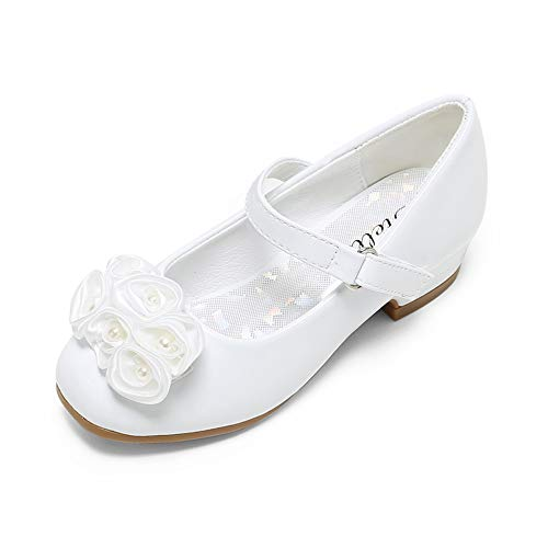 Flower Girls Shoes White (STELLE Girls Mary Jane Flats Low Heel Party Dress Shoes for Kids Flower Girls (T10-White,)