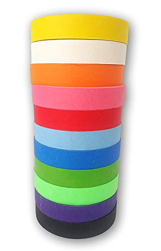 (Colored Masking Painters Craft Tape Jumbo 11 Pack - Extra Long Premium Rolls - 1 Inch Wide, 60 Yards Long, Bright Colors. Great for Arts & Craft Projects, Fun for Kids & Adults - Washi Tape)