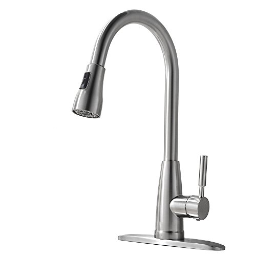 Shaco Single Handle Single Hole Brushed Nickel Single Lever Pull Out Sprayer Kitchen Sink Faucet,Pull Out Sprayer Kitchen Faucet (Sink Pull Out Faucet compare prices)