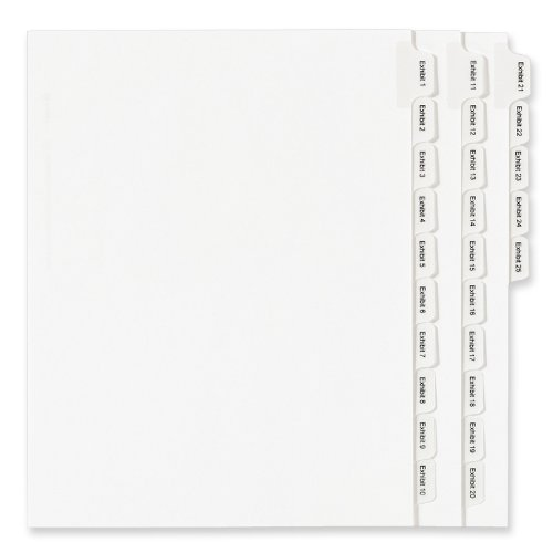 Avery Collated Legal Exhibit Dividers, Allstate Style, EXHIBIT 1-25, Side Tab, 8.5 x 11 inches, 1 Set (82106) free shipping