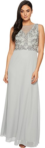 Beaded Bodice Gown - Adrianna Papell Women's Long Gown with Beaded Bodice, Blue Mist, 6