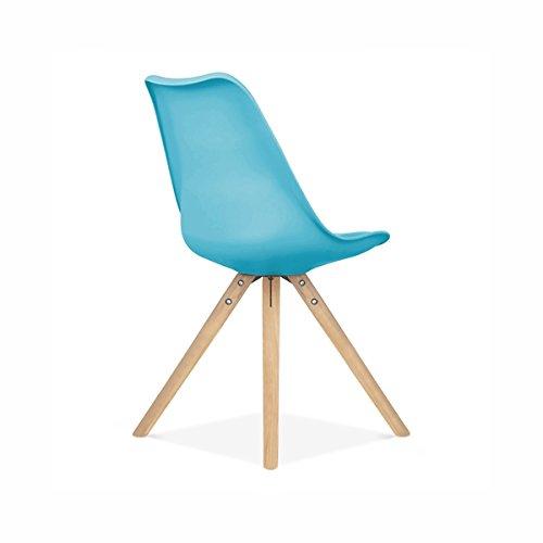 Viborg Blue Mid Century Side Chair Natural Base (Set of 2) Side Mid Century Modern Chair Chairs Pair Danish Dining Room Svitlife ()