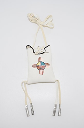 Leather Medicine Bag with Traditional Hand Painted Sun Face Design - Face Kachina