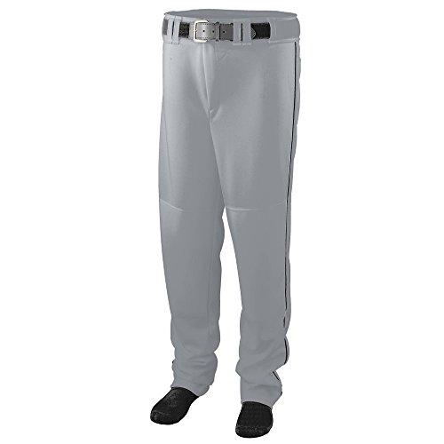 (Augusta Sportswear 1446 Boys' Series Baseball Pants with Piping, Medium, Silver Grey/Black)
