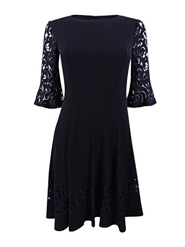 Jessica Howard Womens Plus Jersey Bell Sleeves Cocktail Dress Black 22W