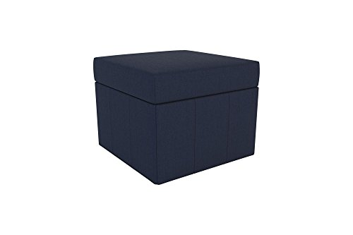 Novogratz Brittany Square Storage Ottoman, Premium Linen Upholstery, Lightweight, Blue (Light Upholstery)