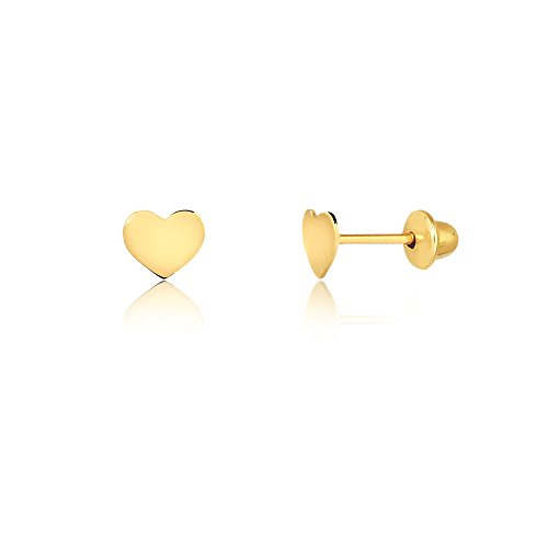 (Carol Jewelry 14k Solid Yellow Gold Heart Shaped Safety Stopper Stud Earrings for Little Girls, Babies, and Toddlers)